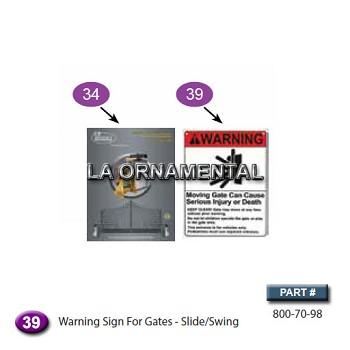 Ramset 800-70-98 / Ramset 50-151 Warning Sign For Gates - Slide/Swing